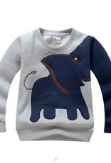 LaraModa Olifant Jongens Sweater - grijs