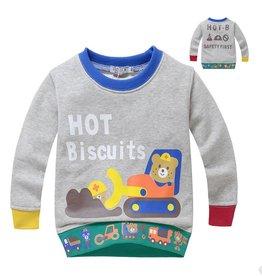 LaraModa Hot Biscuits Beertjes Sweater - grijs
