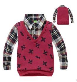 Jongenskleding Sweater Vest met lange mouwen en wiskundige symbolen - bordeauxrood