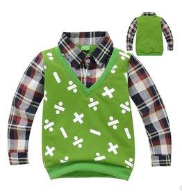 Jongenskleding Sweater Vest met lange mouwen en wiskundige symbolen - groen