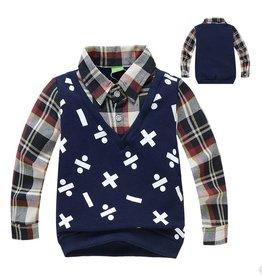 Jongenskleding Sweater Vest met lange mouwen en wiskundige symbolen - blauw