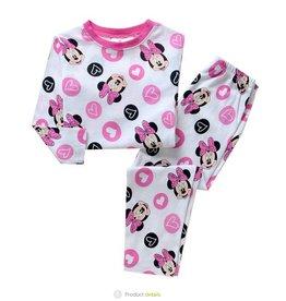 LaraModa Minnie Mouse en hartjes Pyjama - wit / roze