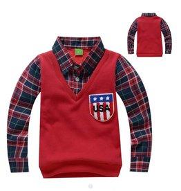 Jongenskleding Sweater Vest met lange mouwen - rood