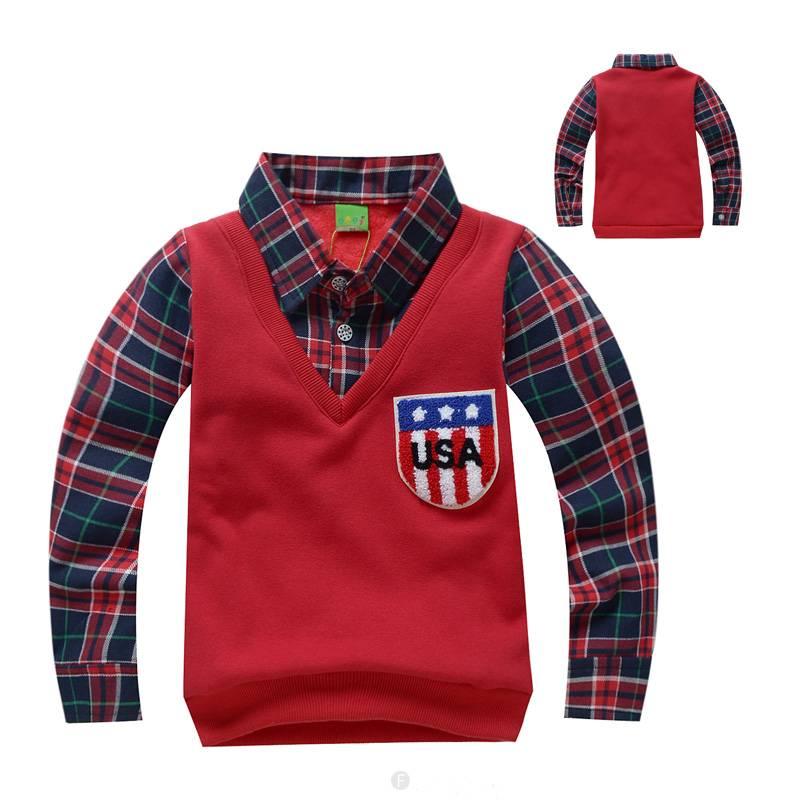 Jongenskleding Jongens Sweater Vest met lange mouwen - rood