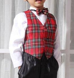 LaraModa Jongenskostuum Michael (zonder jasje) - zwart / rood