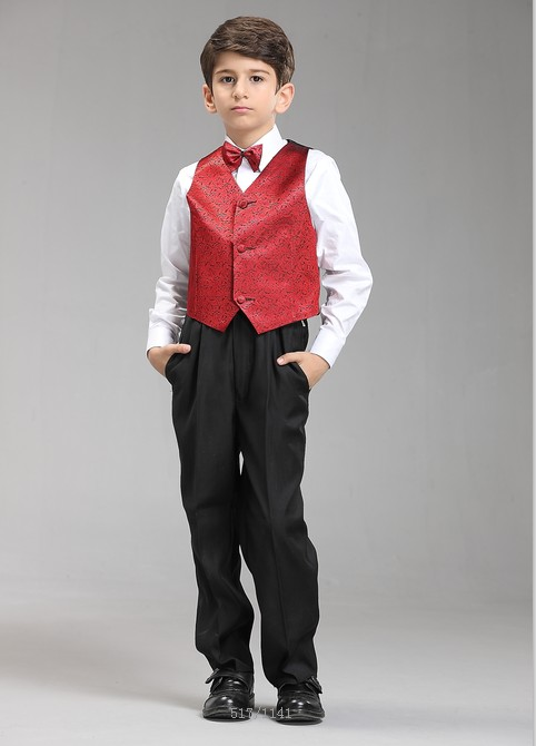 Jongenskleding Jongenskostuum Thomas (zonder jasje) - zwart / rood
