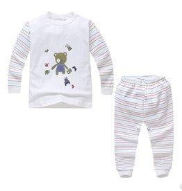 Babykleding Beertje Pyjama - wit / blauw
