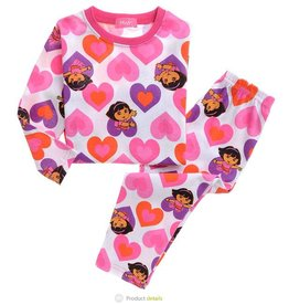 Meisjespyjama's Dora Pyjama - wit / roze