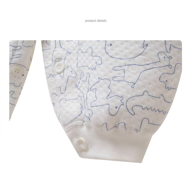 Babykleding Dieren Jongens Boxpakje / Romper - wit / blauw