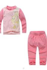 LaraModa Tweety Meisjes Pyjama - fleece - lichtroze