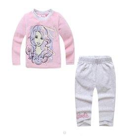 LaraModa Barbie Pyjama - fleece - roze / grijs
