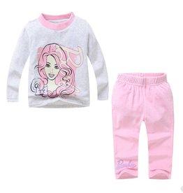 LaraModa Barbie Pyjama - fleece - grijs / roze