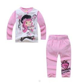 LaraModa Strawberry Shortcake Pyjama - fleece - grijs / lichtroze