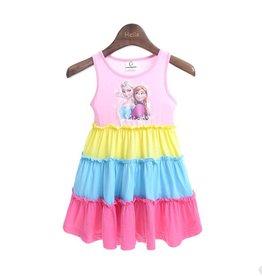 Meisjeskleding Disney Frozen Jurk - roze / geel / blauw
