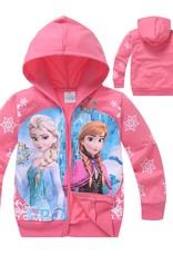 LaraModa Disney Frozen Meisjes Sweatvest 6 - zalm / lichtrood