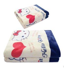 LaraModa Hello Kitty Fleece Kinderdeken 150x220 cm - rood / wit / blauw