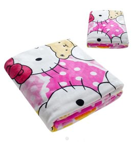 LaraModa Hello Kitty Fleece Kinderdeken 150x220 cm - roze