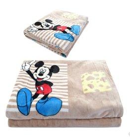 LaraModa Mickey Mouse Fleece Kinderdeken 150x220 cm - khaki