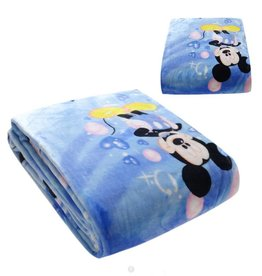 Fleece Kinderdeken Mickey Mouse & Minnie Mouse 150x230 cm, blauw