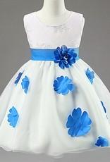 LaraModa Meisjes Feestjurk Shirley - wit / blauw
