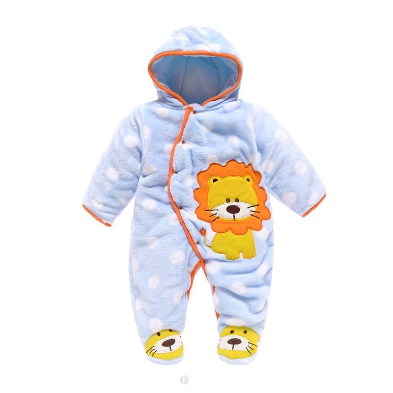 Babykleding Leeuwtje Jongens Boxpakje met capuchon 2 - blauw