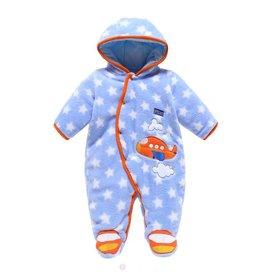 Babykleding Vliegtuig Boxpakje met capuchon - blauw