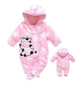 Babypak Koe en Sterren met capuchon, roze