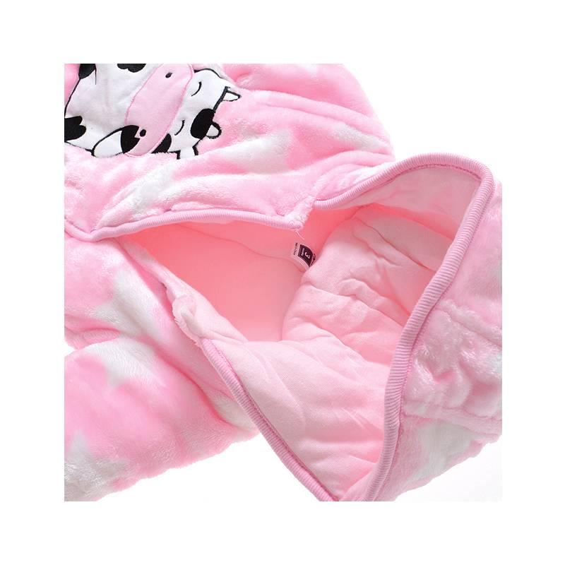 LaraModa Koe en Sterren Meisjes Boxpakje met capuchon - roze
