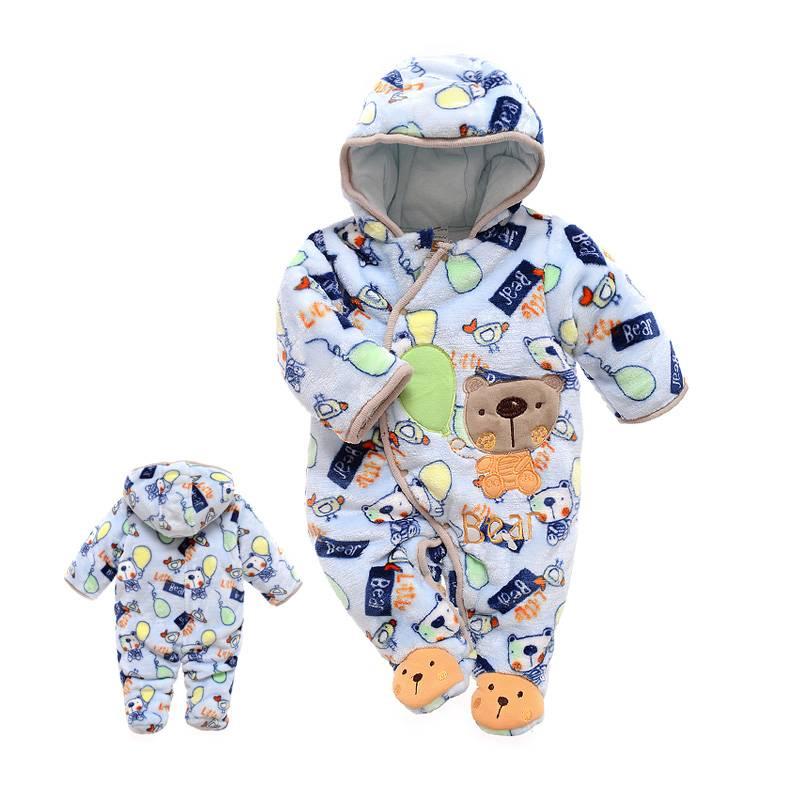 Babykleding Beertjes met Ballon Jongens Boxpakje met capuchon - blauw