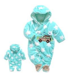 Babykleding Auto en Sterren Boxpakje met capuchon - blauw