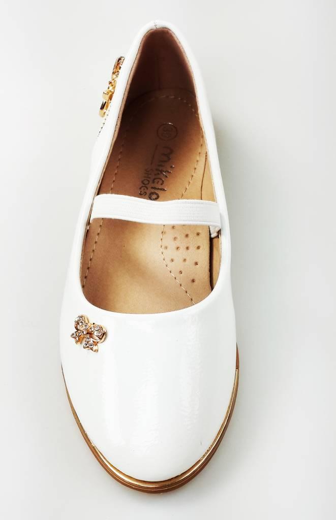 LaraModa Meisjesschoen - Ballerina's - lak - wit