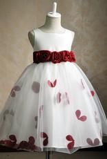 Meisjeskleding Meisjes Feestjurk Gabriëlla - wit / rood