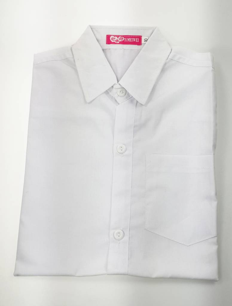 LaraModa Kinderoverhemd Jongens - effen - lange mouwen - wit