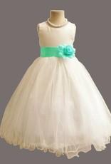 LaraModa Meisjes Feestjurk Betsy - wit / lichtblauw (turquoise)