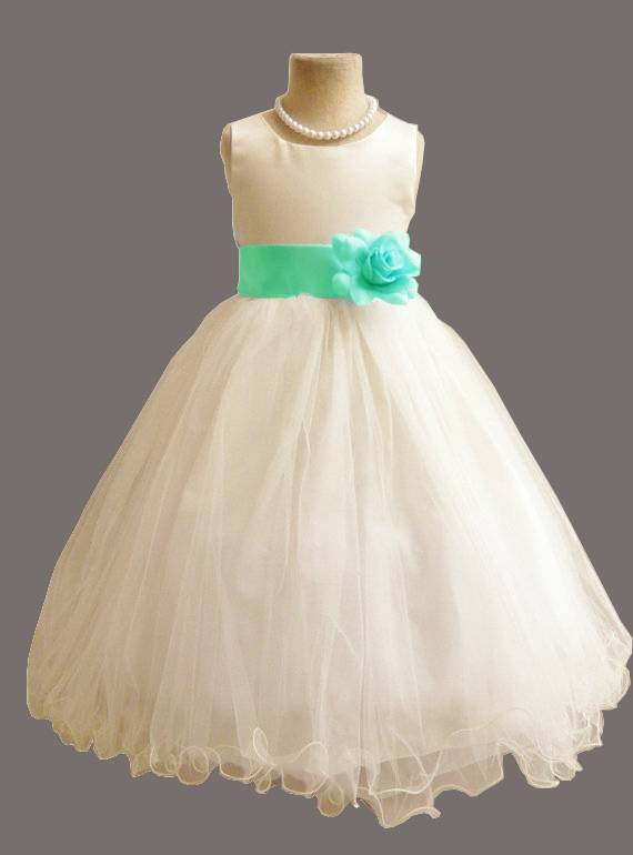 Meisjeskleding Meisjes Feestjurk Betsy - wit / lichtblauw (turquoise)
