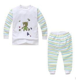 Babykleding Beertje Pyjama - wit / groen