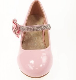 Meisjesschoenen Pumps met hakje en strass steentjes - lak - roze