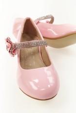 LaraModa Meisjesschoen - Pumps met hakje en strass steentjes - lak - roze