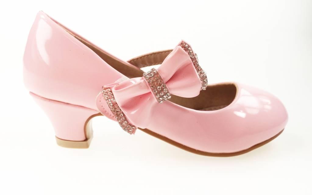 Meisjesschoenen Meisjesschoen - Pumps met hakje en strass steentjes - lak - roze