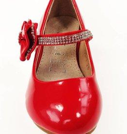 Meisjesschoenen Pumps met hakje en strass steentjes - lak - rood