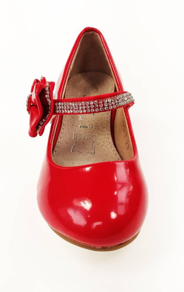 LaraModa Meisjesschoen - Pumps met hakje en strass steentjes - lak - rood