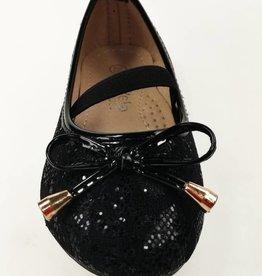 LaraModa Ballerina's - kant - zwart