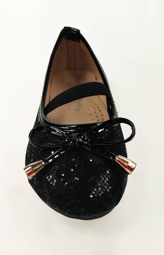 LaraModa Meisjesschoen - Ballerina's - kant - zwart