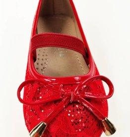 Meisjesschoenen Ballerina's - kant - rood