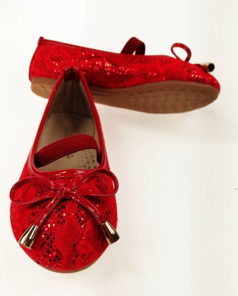 LaraModa Meisjesschoen - Ballerina's - kant - rood