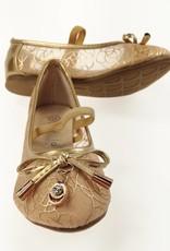 LaraModa Meisjesschoen - Ballerina's - doorzichtig - goud