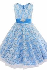 LaraModa Meisjes Feestjurk Emma - blauw