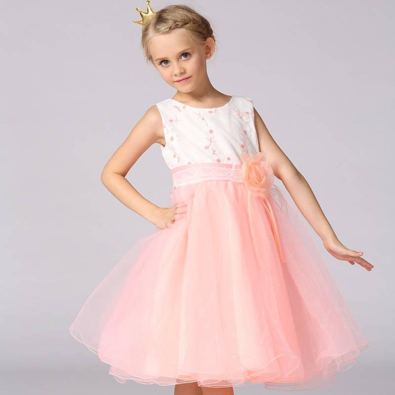 Meisjeskleding Meisjes Feestjurk Mila - roze / zalmroze