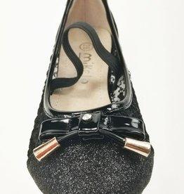 Meisjesschoenen Ballerina's - doorzichtig - glitter - zwart