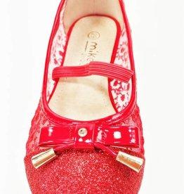 LaraModa Ballerina's - doorzichtig - glitter - rood